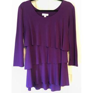 Susan Graver Liquid Knit Tiered 3/4 Sleeve Blouse